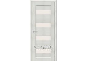Дверь межкомнатная из эко шпона «Аква-3» Bianco Veralinga остекление Сатинато белое