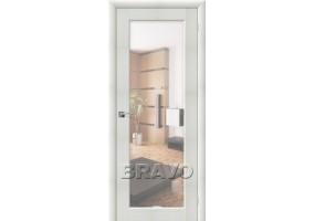 Дверь межкомнатная из эко шпона «Аква-7» Bianco Veralinga остекление Зеркало белое