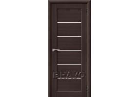 Дверь межкомнатная из эко шпона «Аква-2» Wenge Veralinga остекление Сатинато белое