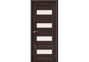 Дверь межкомнатная из эко шпона «Аква-3» Wenge Veralinga остекление Сатинато белое