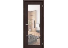 Дверь межкомнатная из эко шпона «Аква-7» Wenge Veralinga остекление Зеркало белое