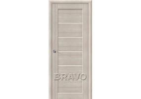 Дверь межкомнатная из эко шпона «Аква-2 Cappuccino Veralinga остекление Сатинато белое