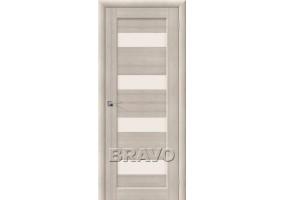 Дверь межкомнатная из эко шпона «Аква-3» Cappuccino Veralinga остекление Сатинато белое