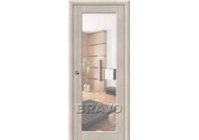 Дверь межкомнатная из эко шпона «Аква-7» Cappuccino Veralinga остекление Зеркало белое