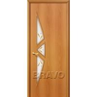 Ламинированная межкомнатная дверь 15Ф Миланский орех остекление художественное с элементами фьюзинга