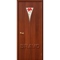 Ламинированная межкомнатная дверь «3П» Итальянский орех остекление белое матовое с витражом