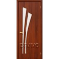 """Ламинированная межкомнатная дверь """"4С"""" Итальянский орех остекление Сатинато белое"""