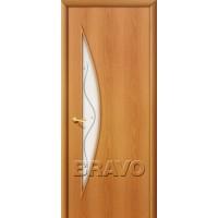 """Ламинированная межкомнатная дверь """"5Ф"""" Миланский орех остекление художественное с элементами фьюзинга"""