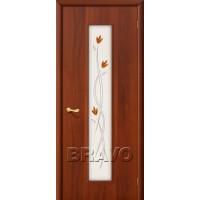 """Ламинированная межкомнатная дверь """"22Х"""" Итальянский орех остекление художественное"""