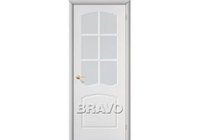"""Дверь межкомнатная из ПВХ """"Альфа"""" Белый остекление Кризет белое"""