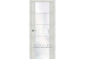 """Дверь межкомнатная из эко шпона """"V4 WW"""" Bianco Veralinga остекление Lacobel белый"""