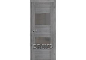 """Дверь межкомнатная из эко шпона """"VG2 S"""" Grey Veralinga остекление Lacobel серый"""