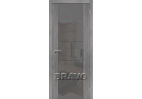 """Дверь межкомнатная из эко шпона """"V4 S"""" Grey Veralinga остекление Lacobel серый"""
