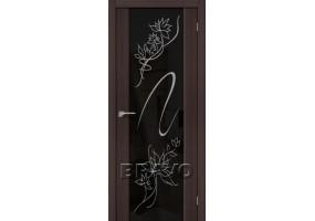 """Дверь межкомнатная из эко шпона """"S-13 Stamp"""" Wenge Veralinga остекление Зеркало художественное"""