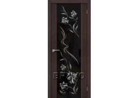 """Дверь межкомнатная из эко шпона """"S-13 Print"""" Wenge Veralinga остекление Зеркало художественное"""