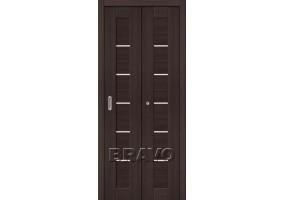 Дверь межкомнатная из эко шпона складная «Порта-22» Wenge Veralinga остекление Сатинато белое
