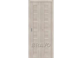 Дверь межкомнатная из эко шпона складная «Порта-22» Cappuccino Veralinga остекление Сатинато белое