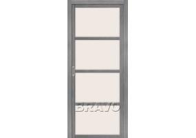 """Дверь межкомнатная из эко шпона """"Твигги V4"""" Grey Veralinga остекление Сатинато белое"""