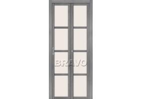 Дверь межкомнатная из эко шпона складная «Твигги V4» Grey Veralinga остекление Сатинато белое