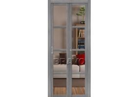 Дверь межкомнатная из эко шпона складная «Твигги V4 Crystalline» Grey Veralinga Crystalline прозрачное