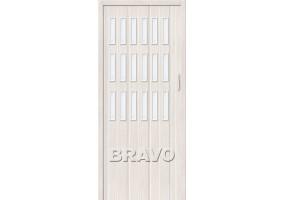 "Дверь межкомнатная из ПВХ складная ""Браво-018"" Белый дуб"