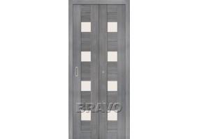 Дверь межкомнатная из эко шпона складная «Порта-23» Grey Veralinga остекление Сатинато белое